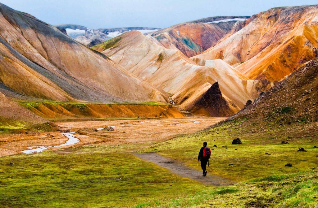 Hiking in Landmannalaugar in the highlands of Iceland, Brennisteinsalda Mountain in Landmannalaugar