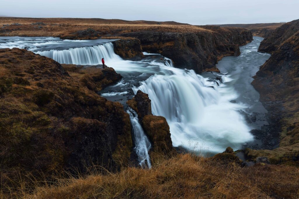 Reykjafoss waterfall in north Iceland