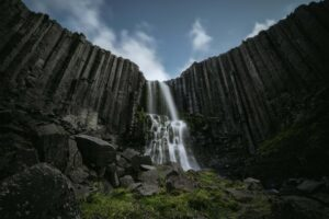 Studlafoss basalt column waterfall in east Iceland