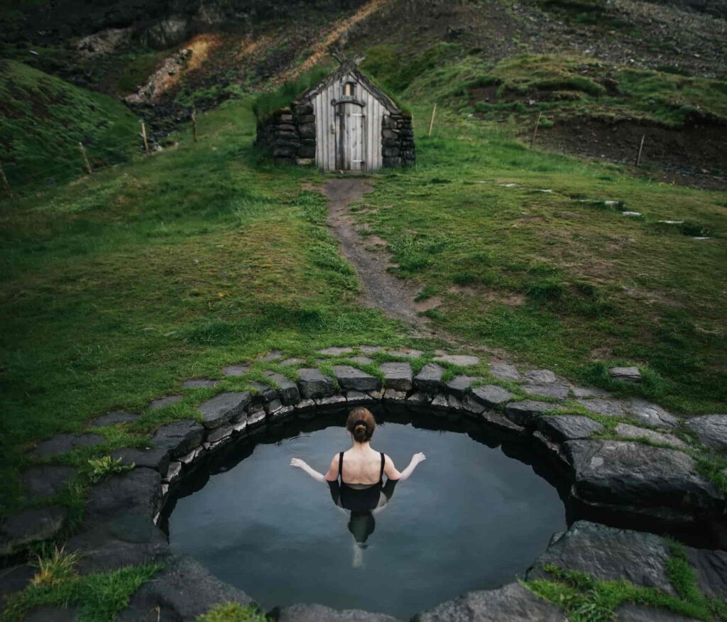 guðrunarlaug hot spring in west Iceland