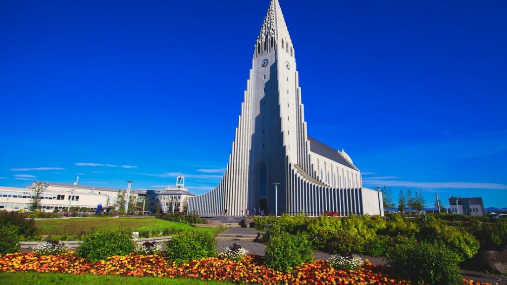 Hallgrimskirkja church in downtown Reykjavik on the Reykjavik walking tour