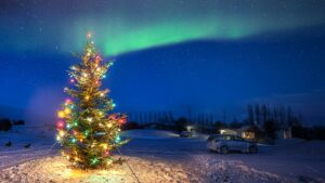 northern lights during Christmas Holidays in Iceland