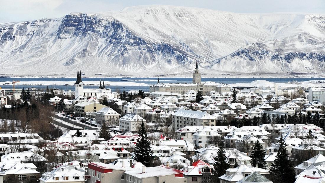 view over Reykjavik and Esjan