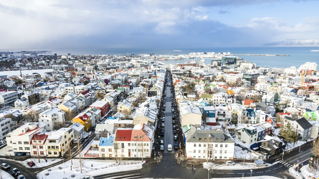 view from Hallgrimskirkja church in downtown Reykjavik on the Reykjavik walking tour