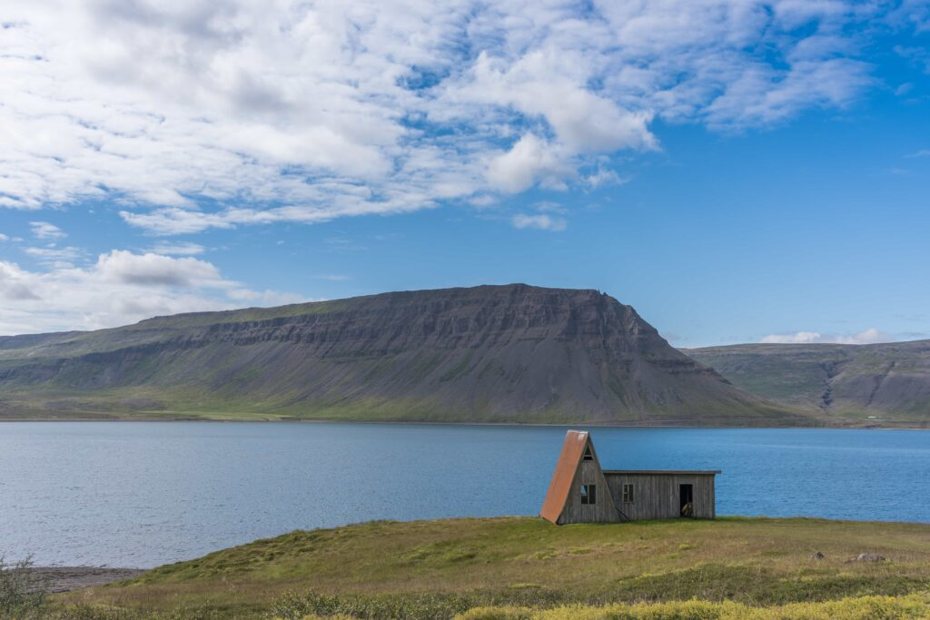 abandoned house in Bíldudalur fishing village in westfjords of Iceland