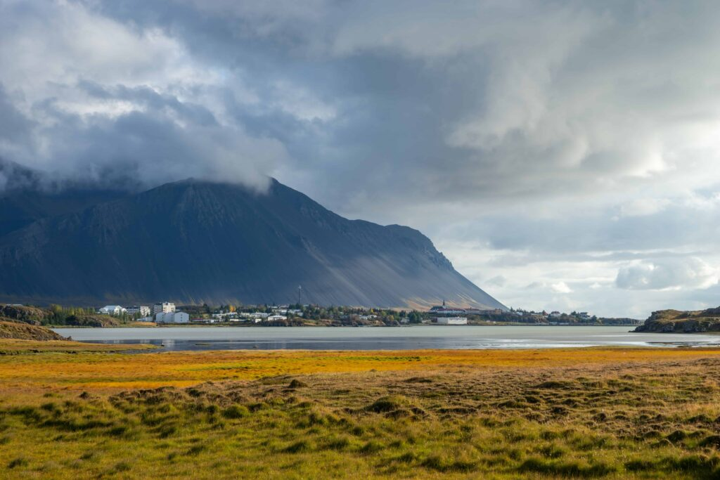 Borgarnes village and Hafnarfjall mountain in west Iceland