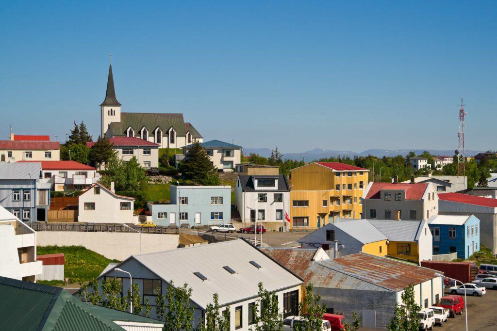 Borgarnes village and Hafnarfjall mountain in west Iceland