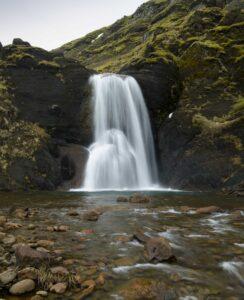 Helgufoss waterfall in Mosfellsdalur Iceland