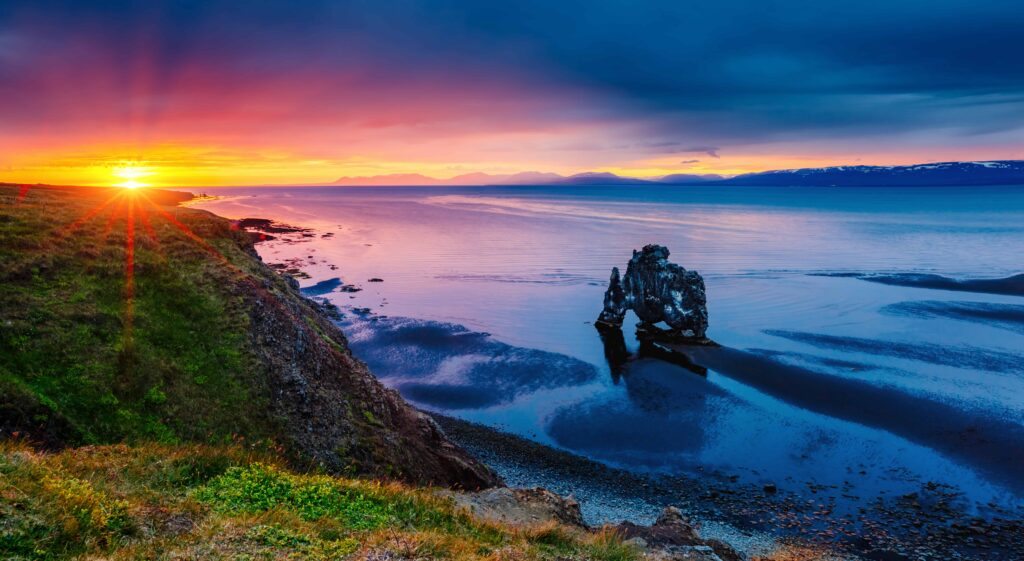 sunset at Hvítserkur cliff in north Iceland