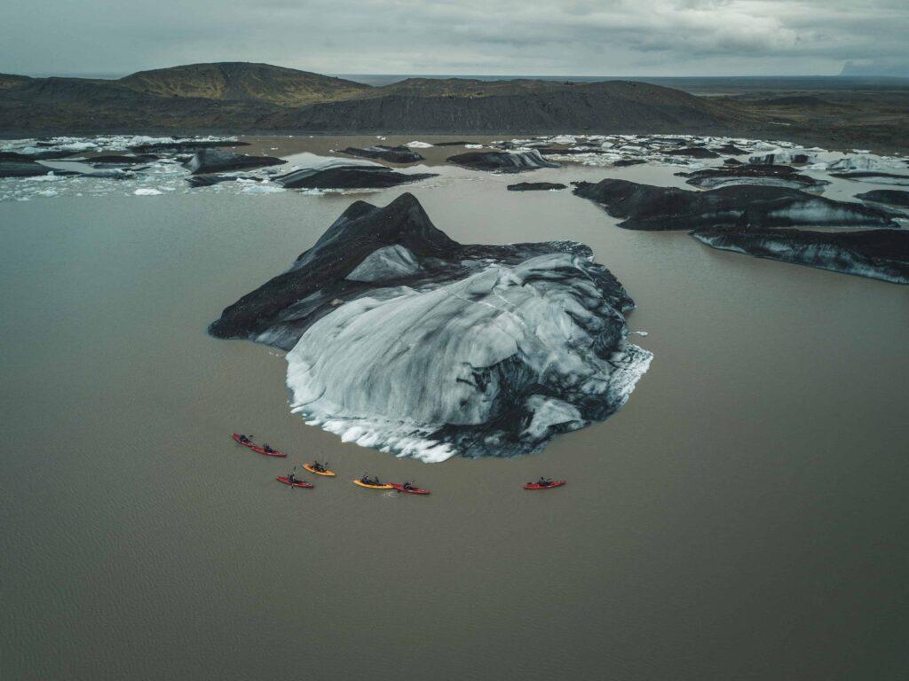 glacier kayaking in Iceland