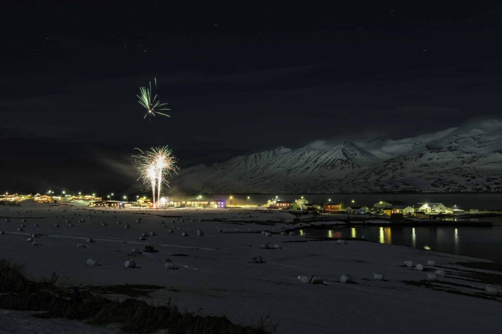 fireworks in north Iceland new years eve