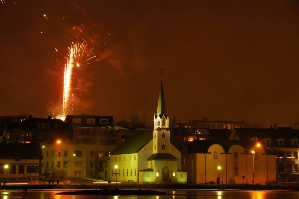 New Years Eve fireworks in Reykjavik Iceland