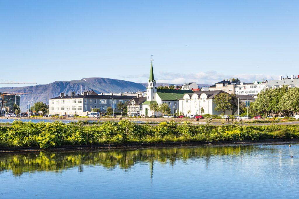 Tjornin pond in downtown Reykjavik