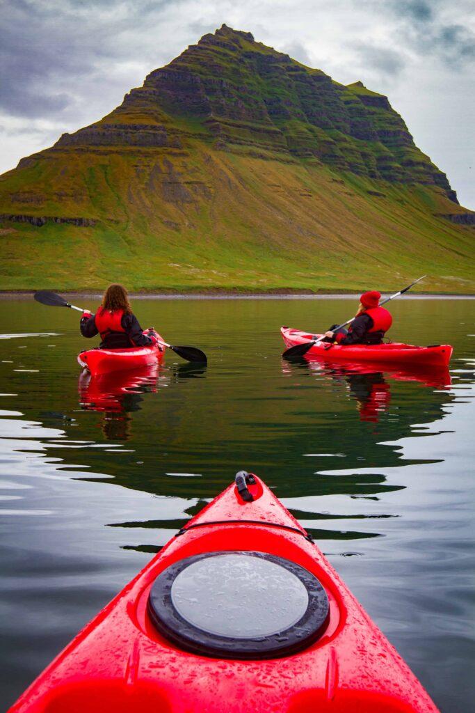 kayaking at Kirkjufell mountain in Snæfellsnes Peninsula