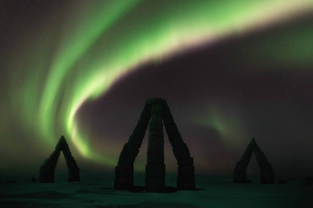northern lights over Arctic Henge in Raufarhofn in north Iceland