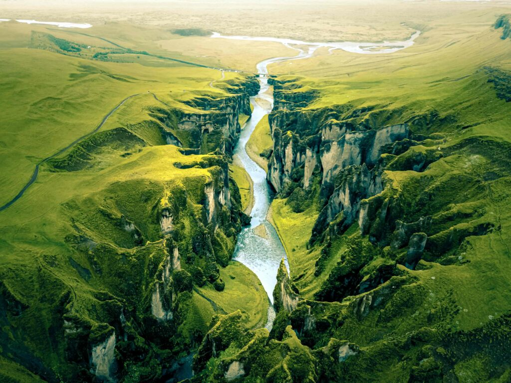 Drone flying in Iceland, Fjaðrargljufur canyon from a drone