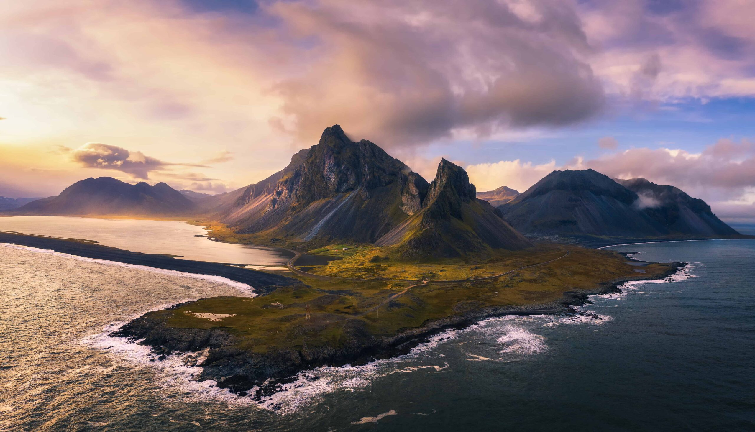 Drone flying in Iceland, Eystrahorn seen from a drone in Iceland