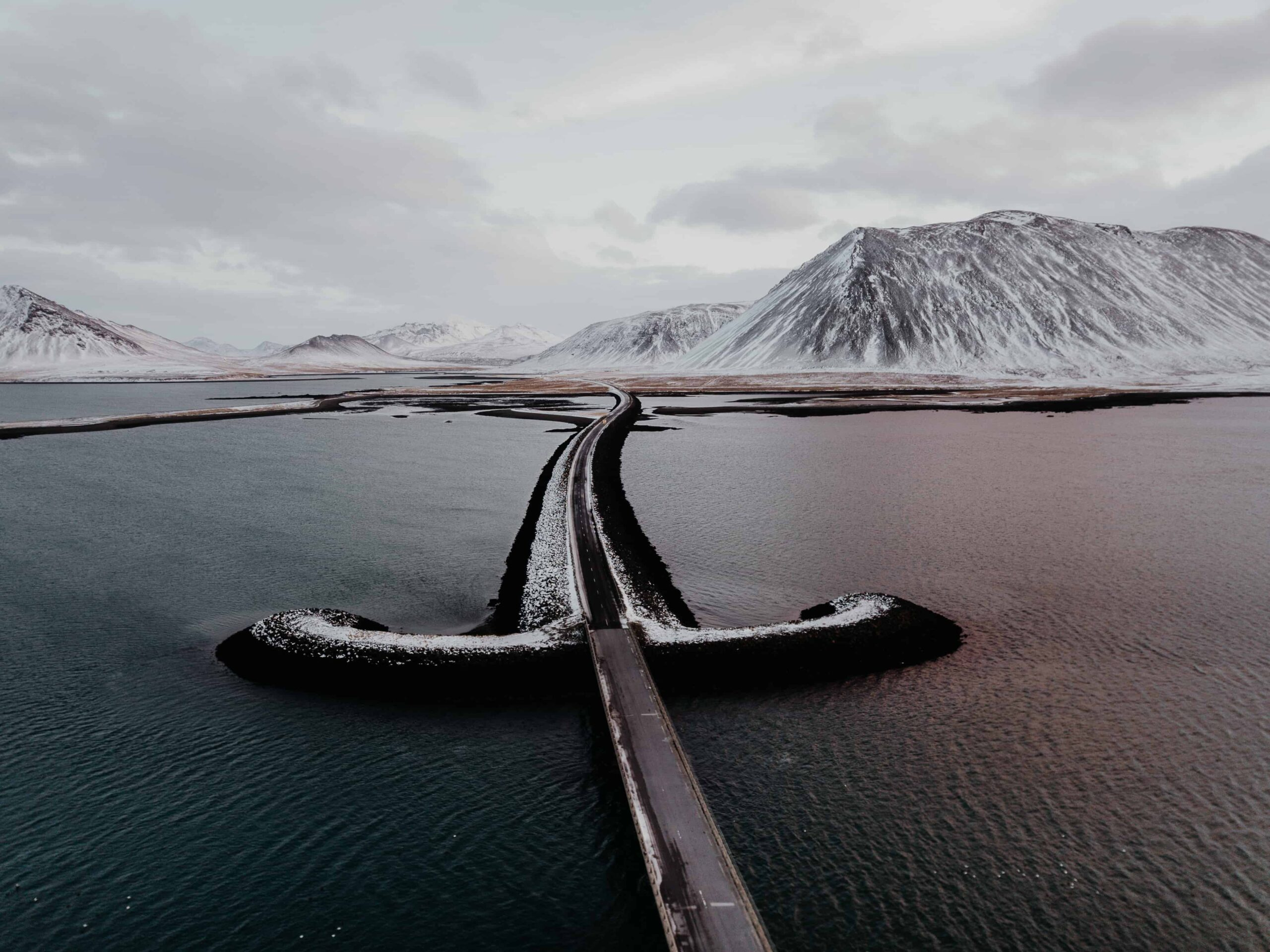 Drone flying in IcelandDrone flying in Iceland, road in Iceland seen from a drone