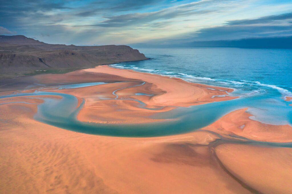Drone flying in Iceland, Rauðisandur red sand beach in Westfjords