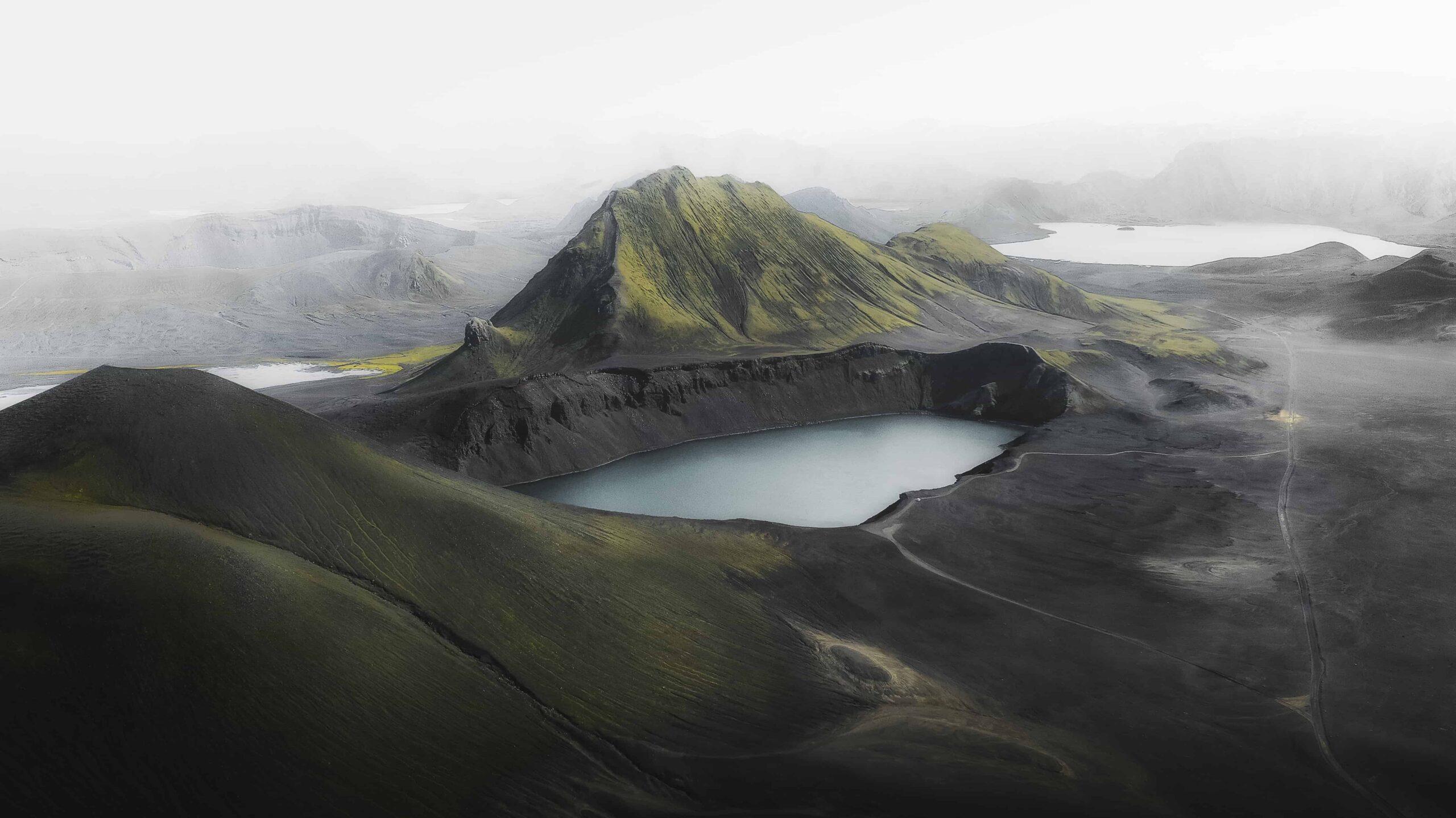Drone flying in Iceland, Highlands, Ljótipollur Lake in Landmannalaugar