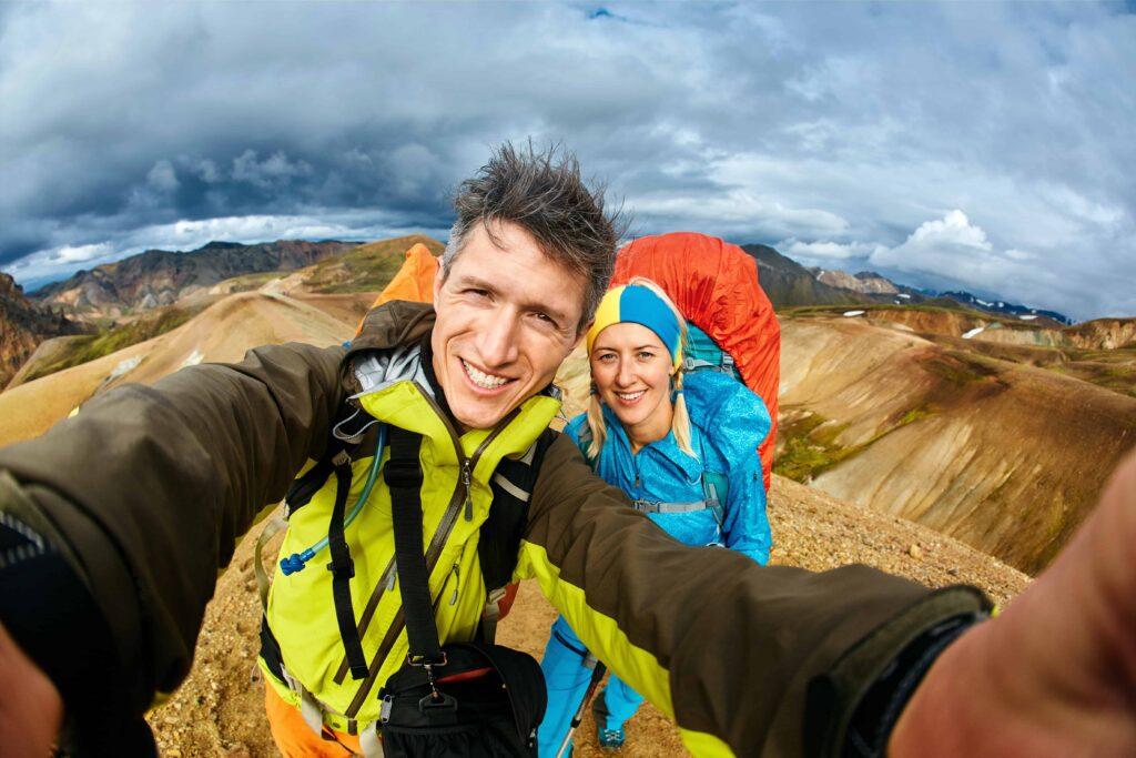 Honeymoon in Iceland, hiking in Landmannalaugar highlands of Iceland