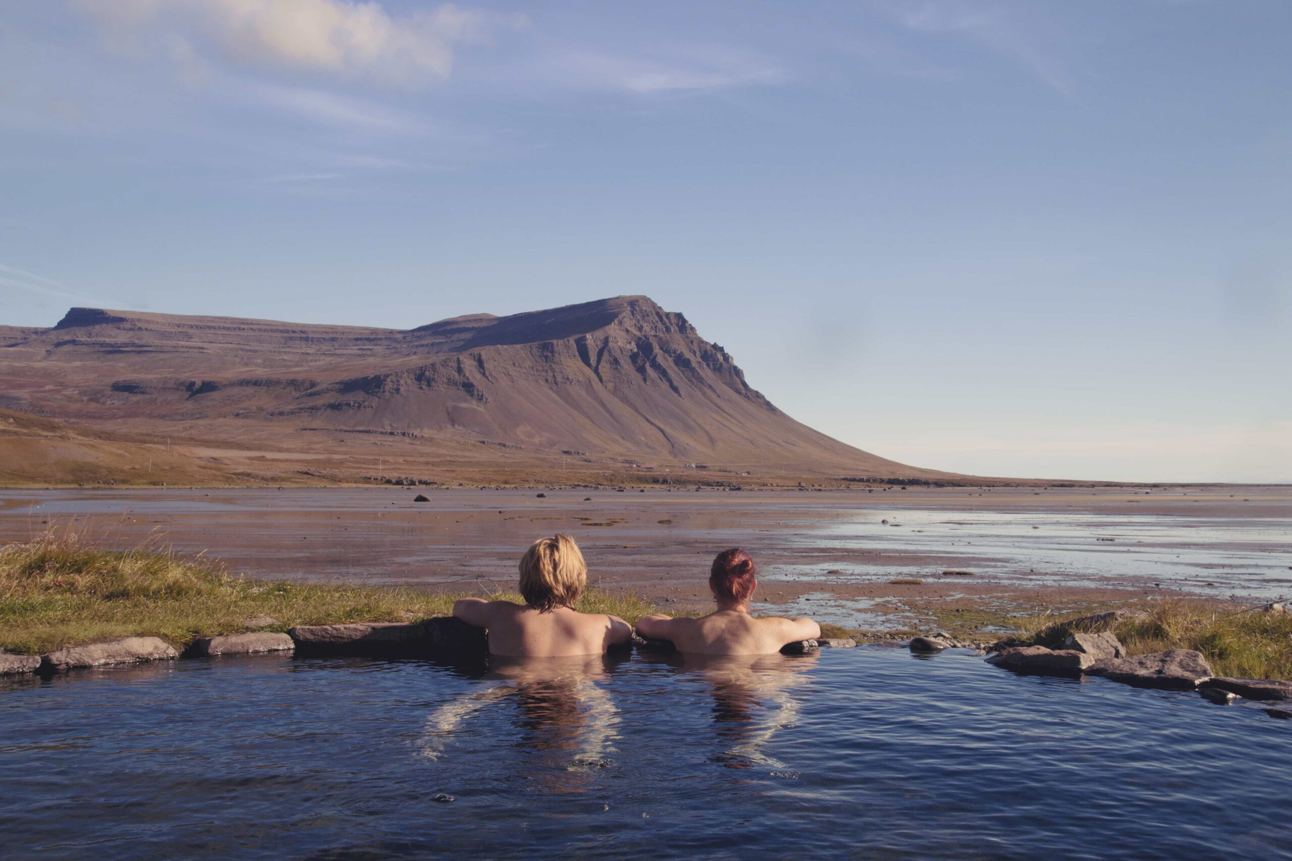 Honeymoon in Iceland, couple in a hot spring in Iceland
