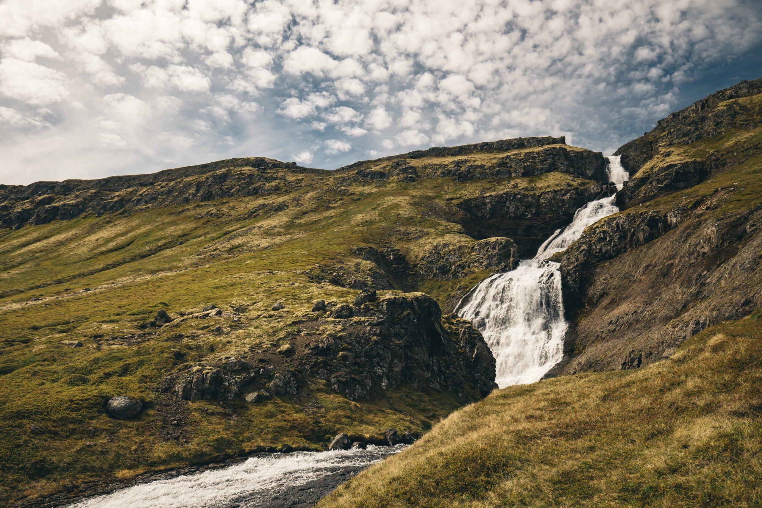 Waterfall in Hornstrandir Nature Reserven in the Westfjords of Iceland