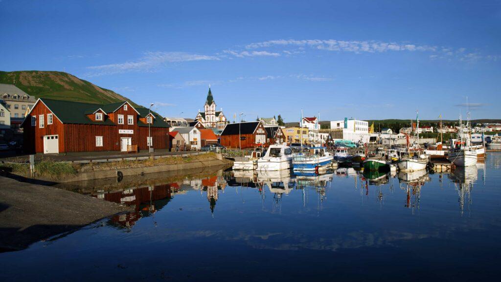 Húsavík fishing village in north Iceland