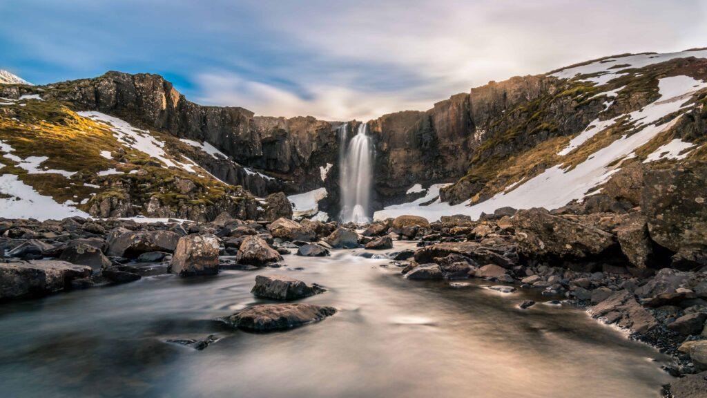 Gufufoss waterfall in east Iceland - Seyðisfjörður waterfalls