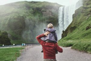 Iceland Family Travel at Skógafoss waterfall