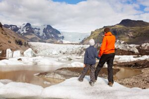 Iceland Family Travel with a glacier