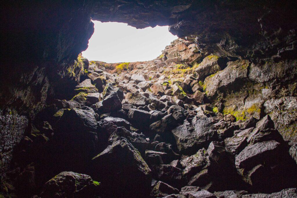 Leiðarendi lava cave in Iceland