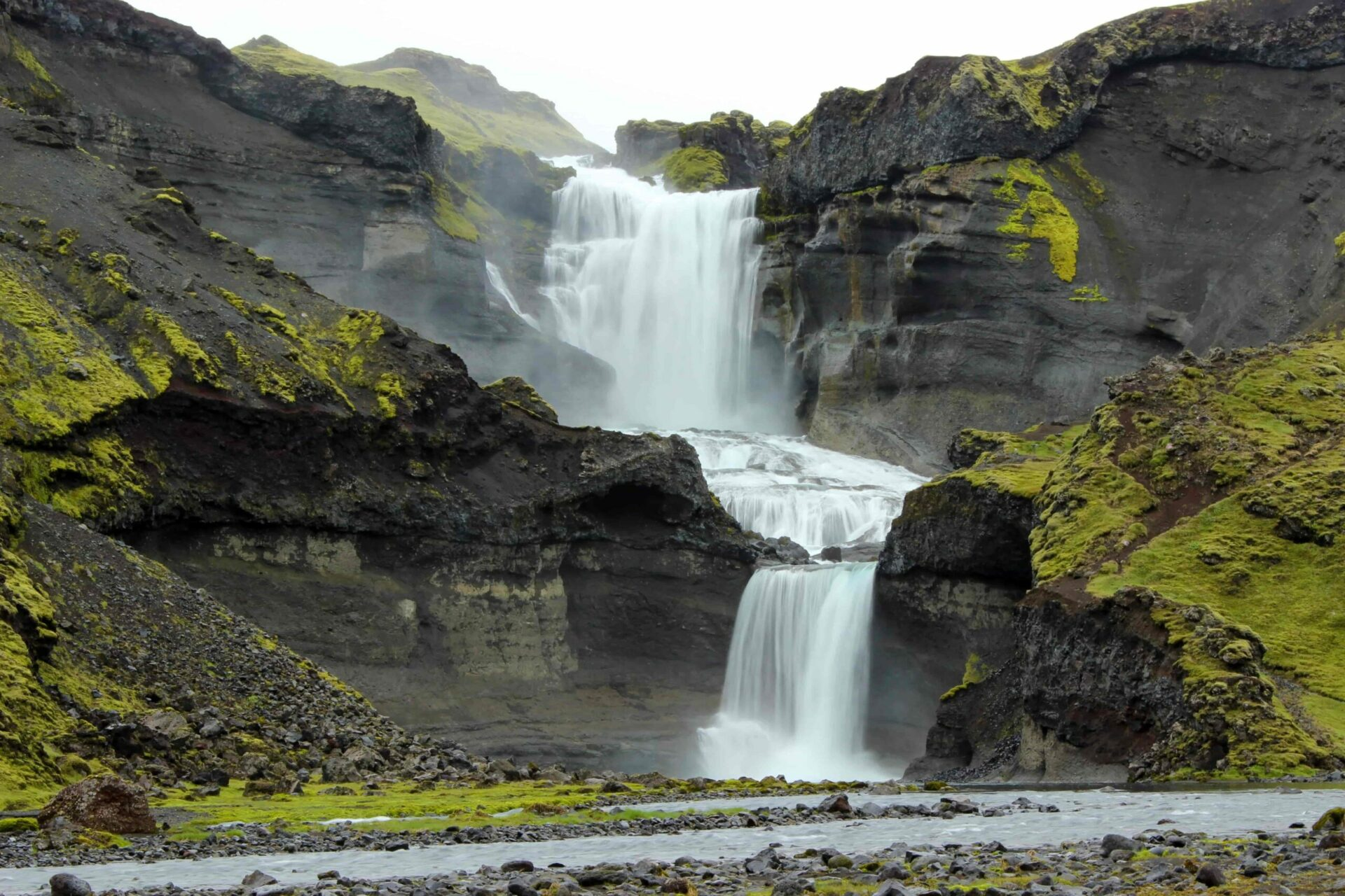 Ófærufoss waterfall in the highlands of Iceland