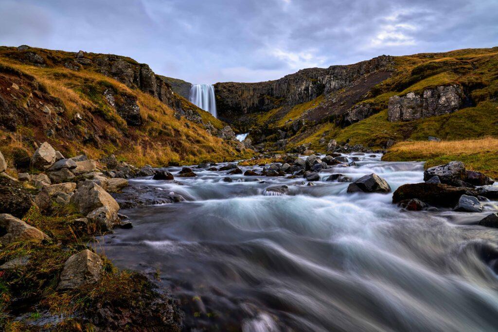 Svöðufoss hidden waterfall in Snæfellsnes Peninsula