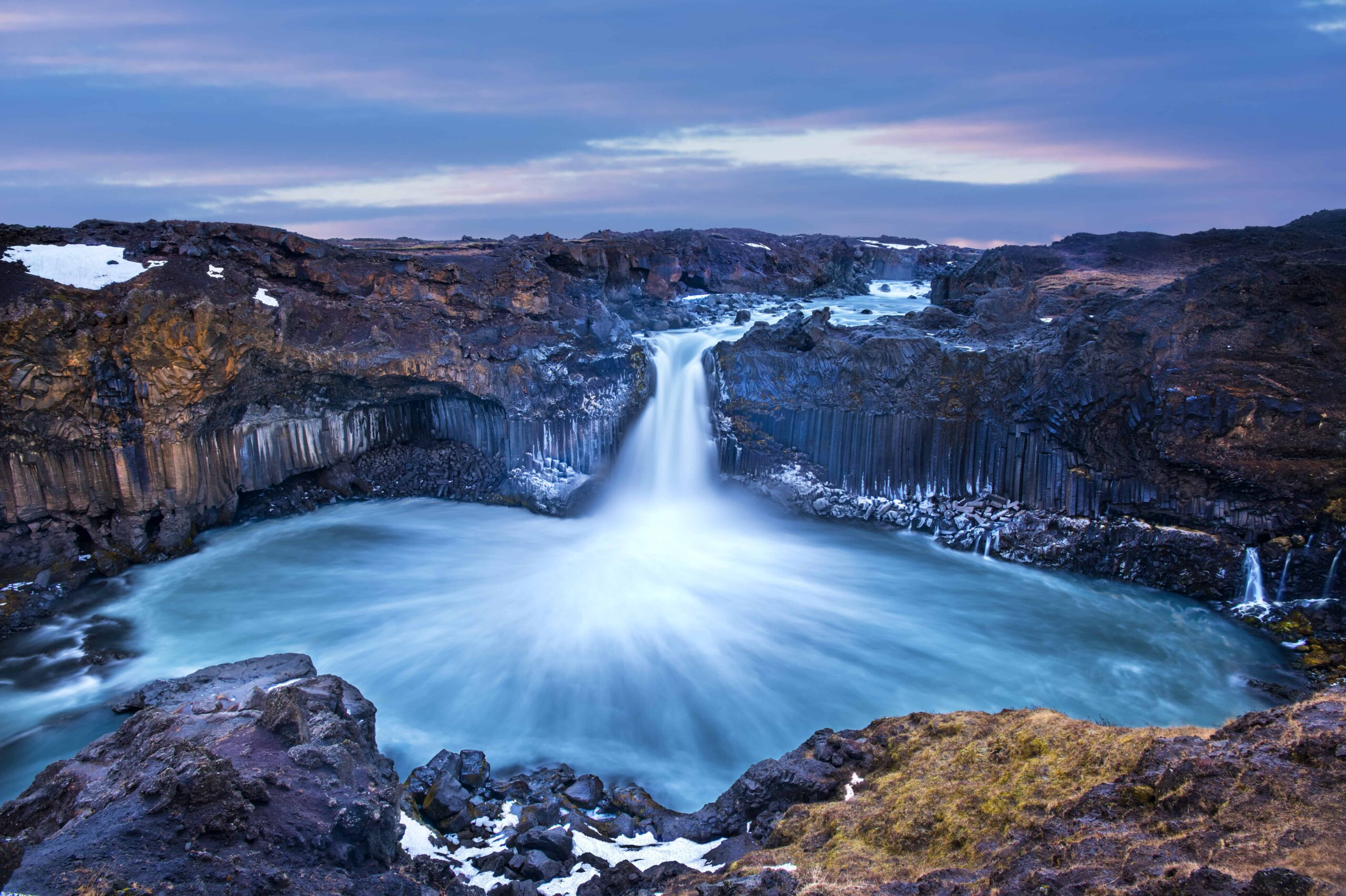 Aldeyjarfoss waterfall in the northern highlands of Iceland
