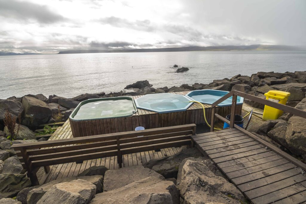 Drangsnes hot tubs with a view in the Westfjords of Iceland