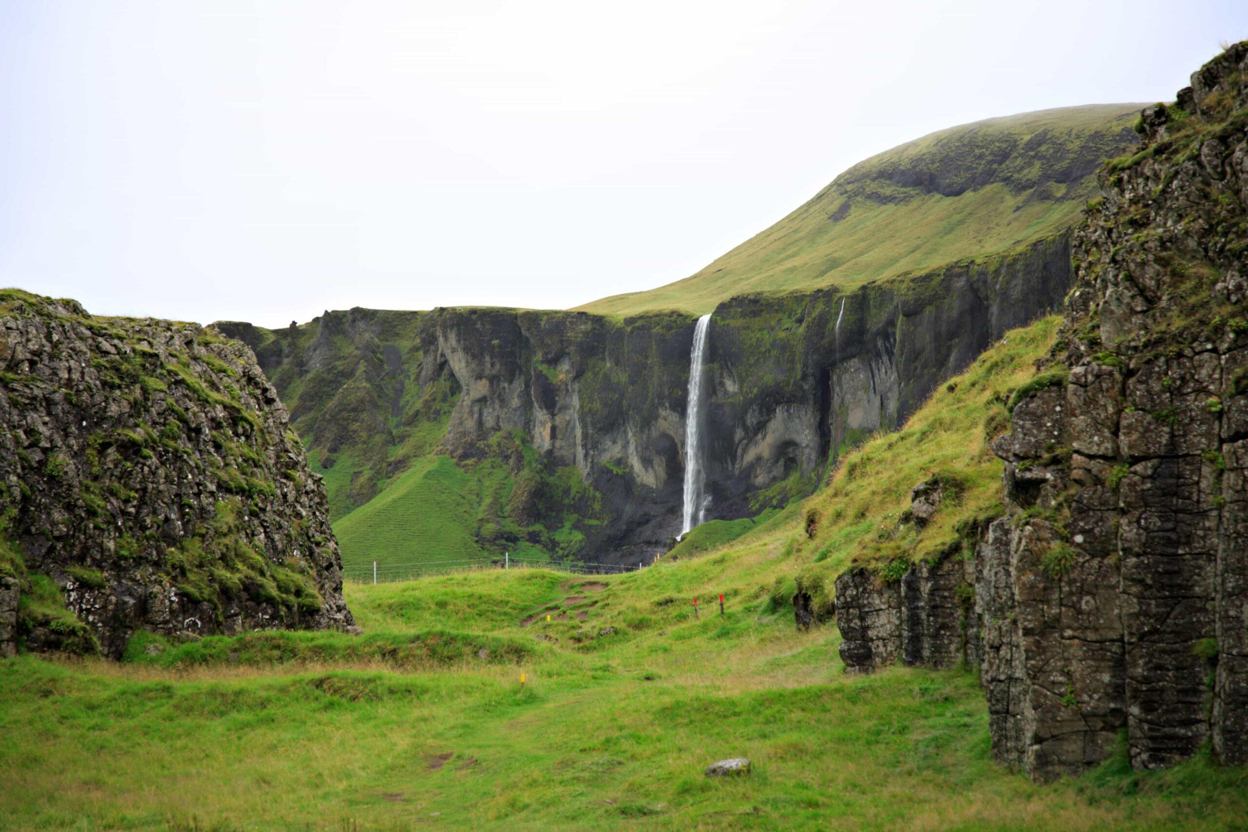 Dverghamrar dwarf cliffs and Foss á síðu in south Iceland