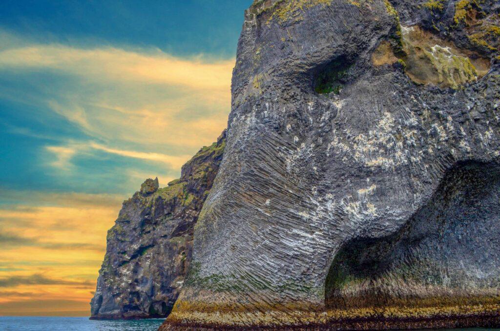 Elephant Rock in Westman Islands in Iceland