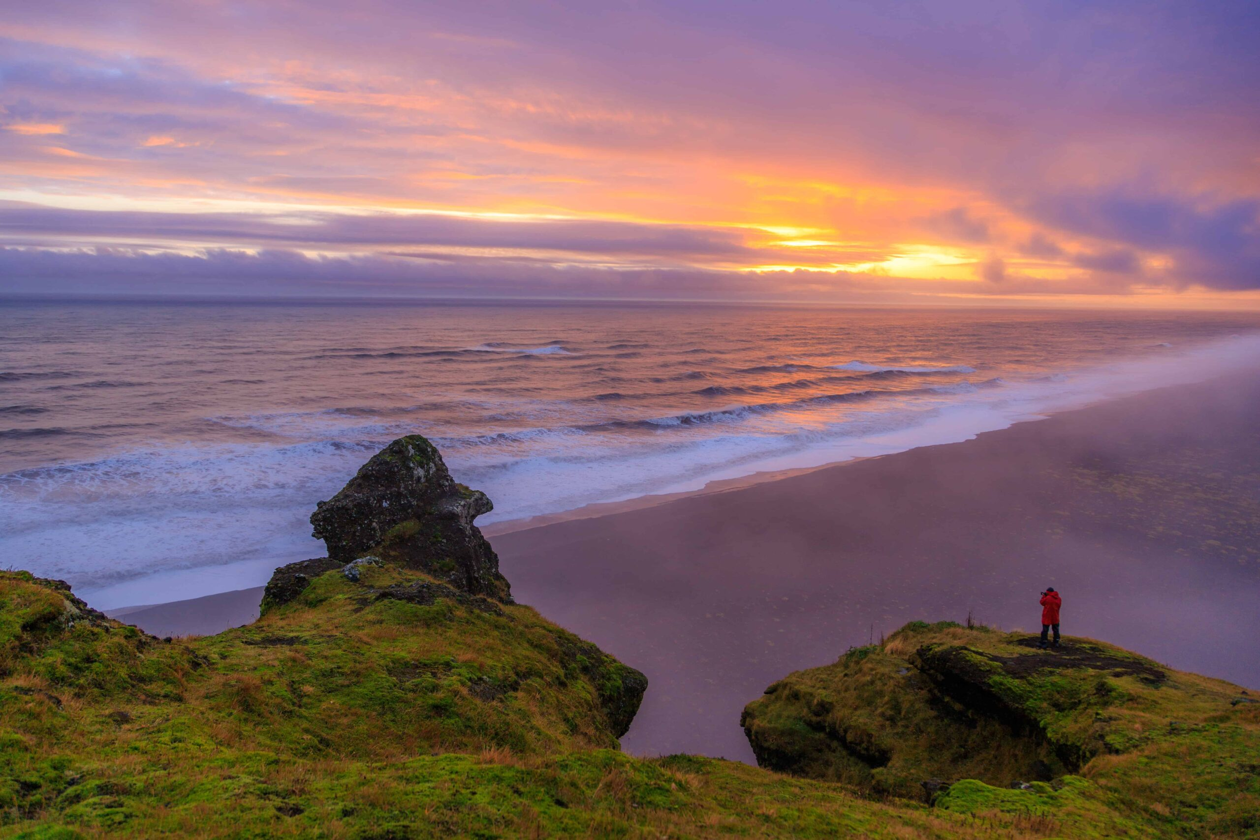 sunset and troll cliff in south Iceland