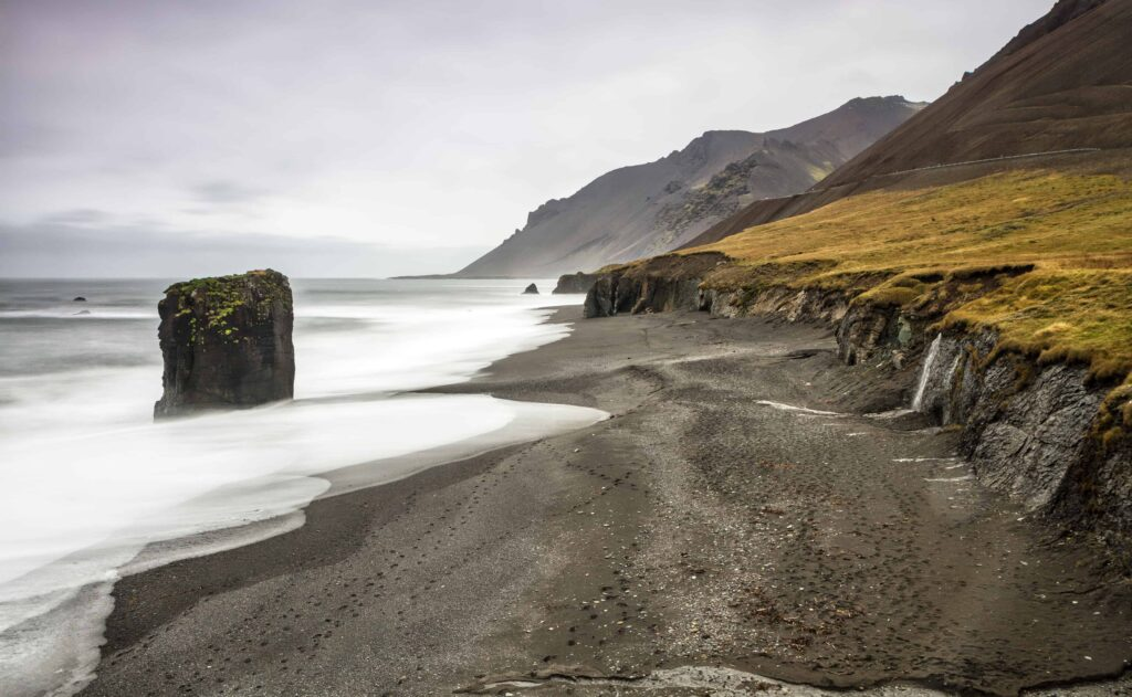 Fauskasandur black sand beach in east Iceland