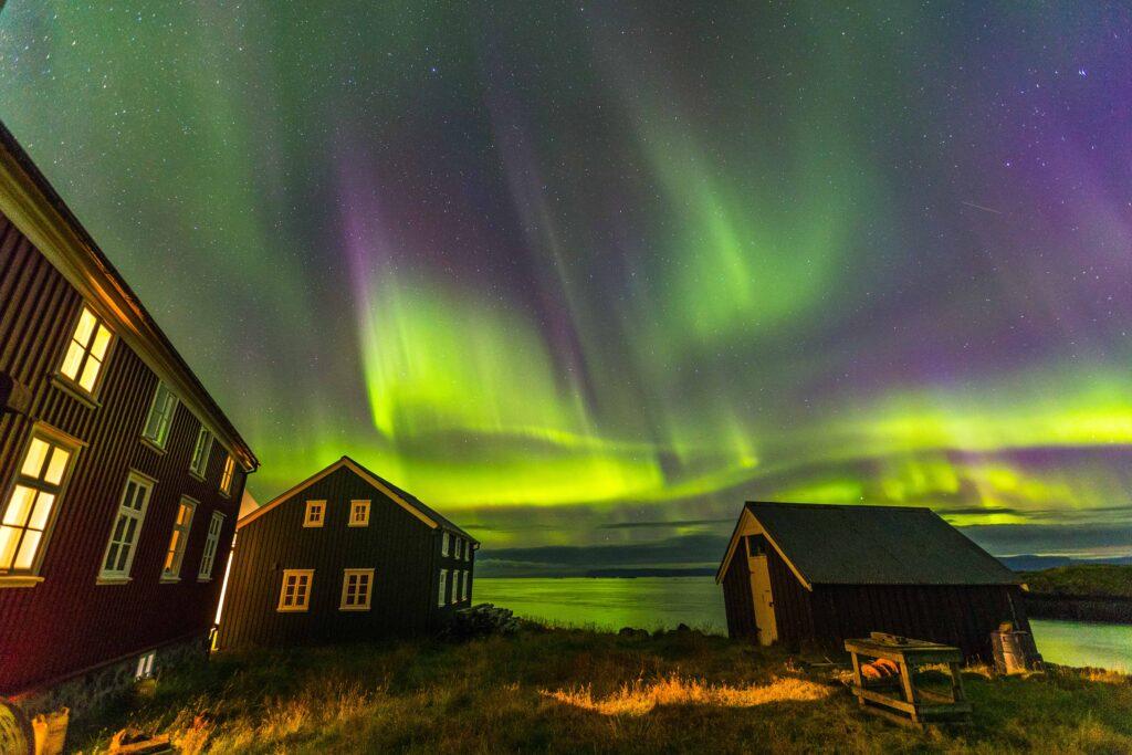 northern lights in Flatey Island in west Iceland
