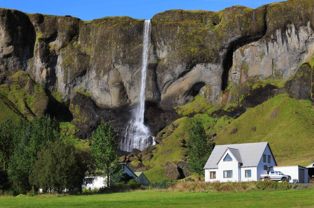Foss á síðu waterfall next to a farm in south Iceland