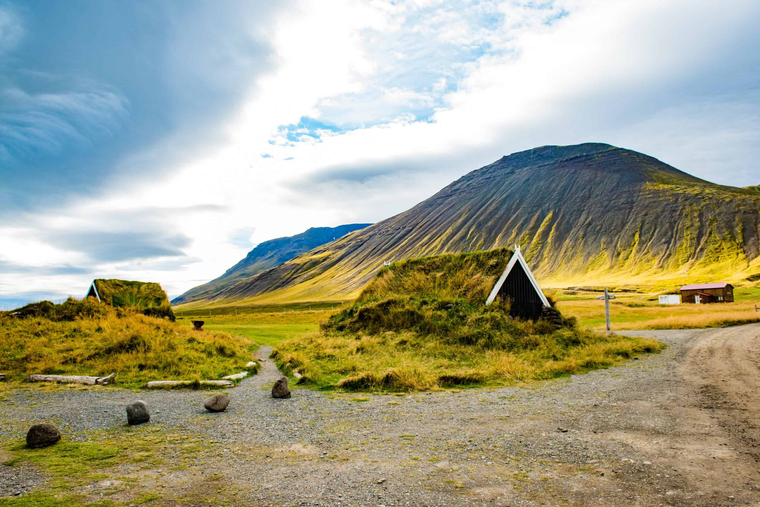 turf house at Grettislaug hot spring in north Iceland
