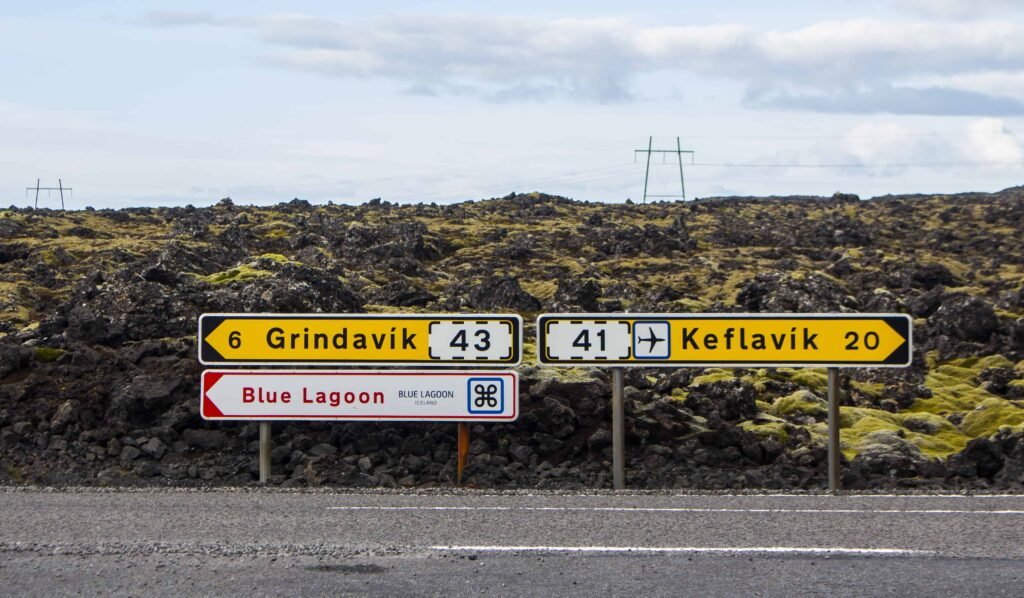 road signs in Grindavík Keflavik and Blue Lagoon