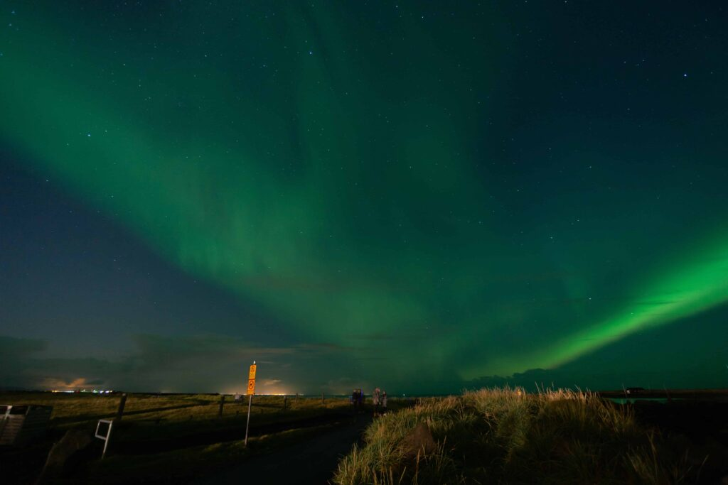 northern lights over Grótta lighthouse in Seltjarnarnes lighthouse