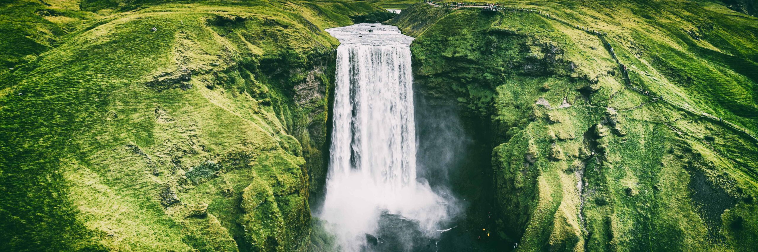 Helicopter view at Skógafoss waterfall in Iceland