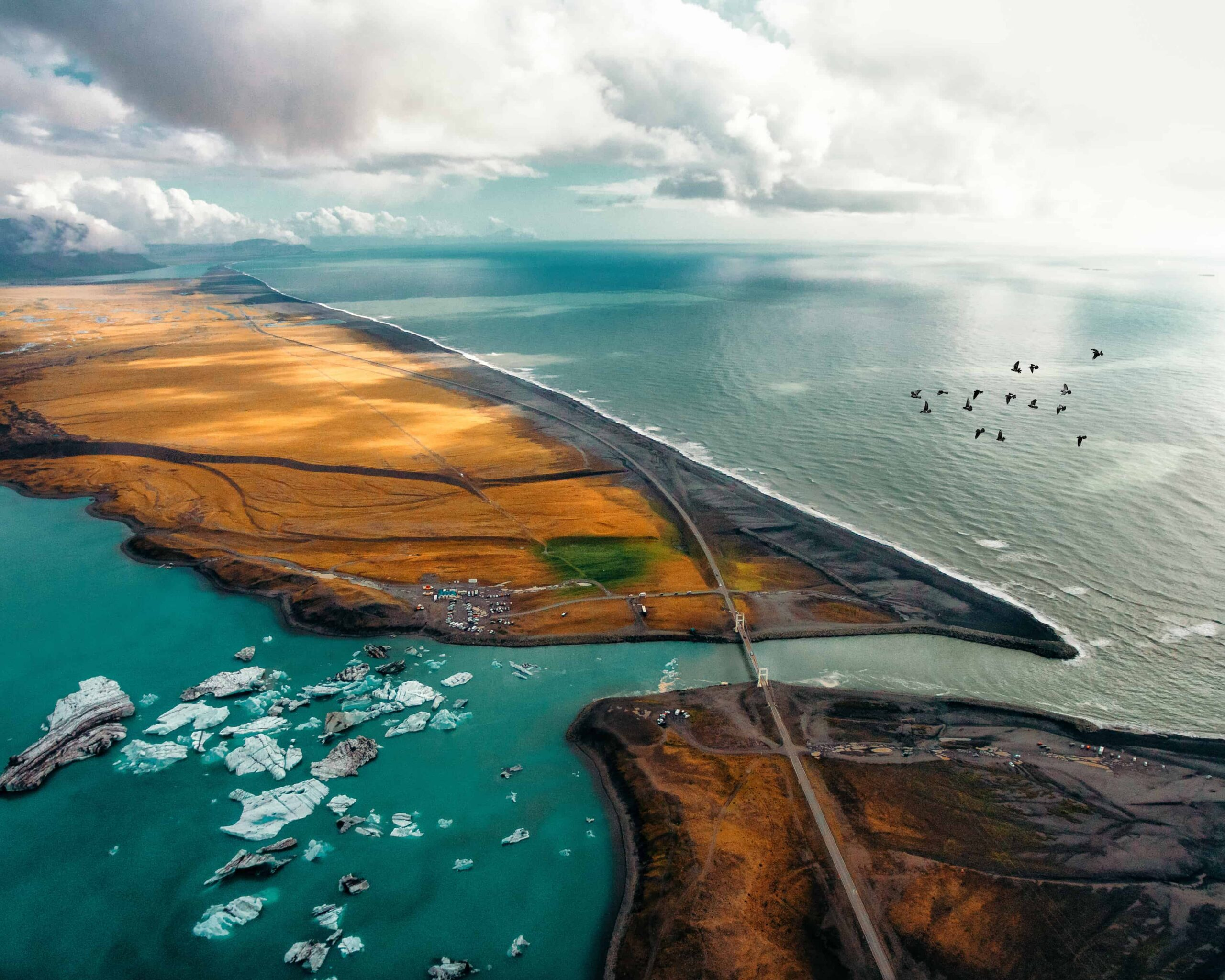 Helicopter view at Jokulsarlon glacier lagoon in Iceland