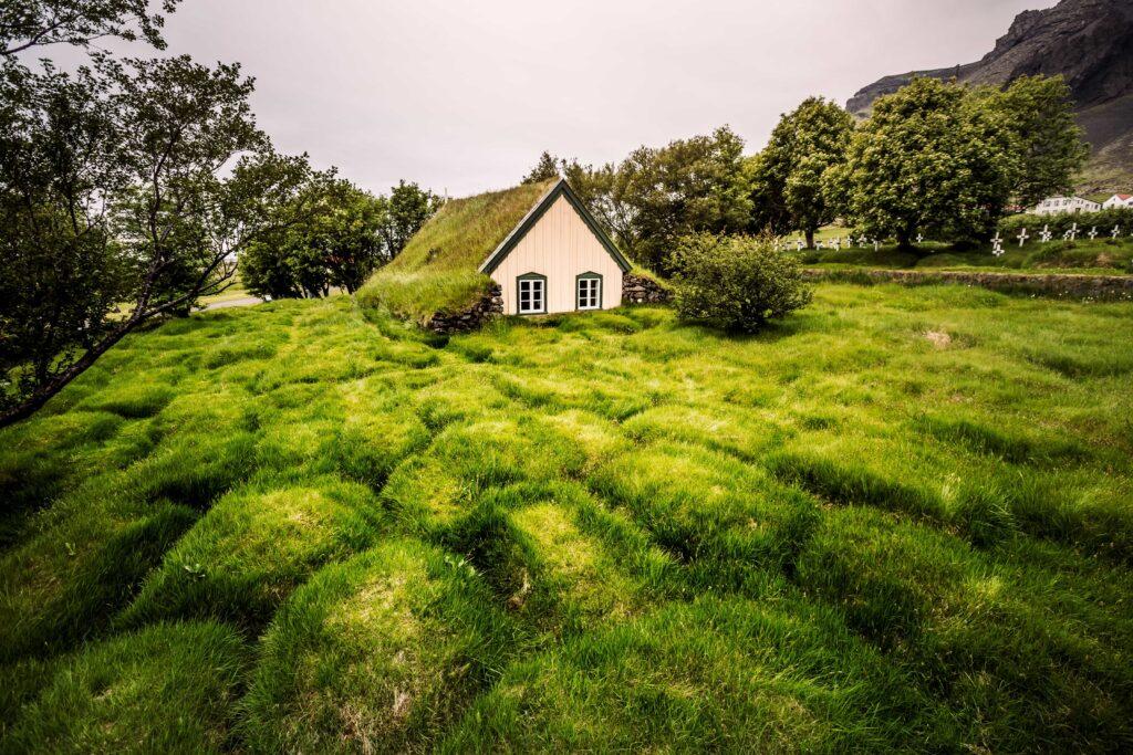 Hofskirkja turf church in south Iceland