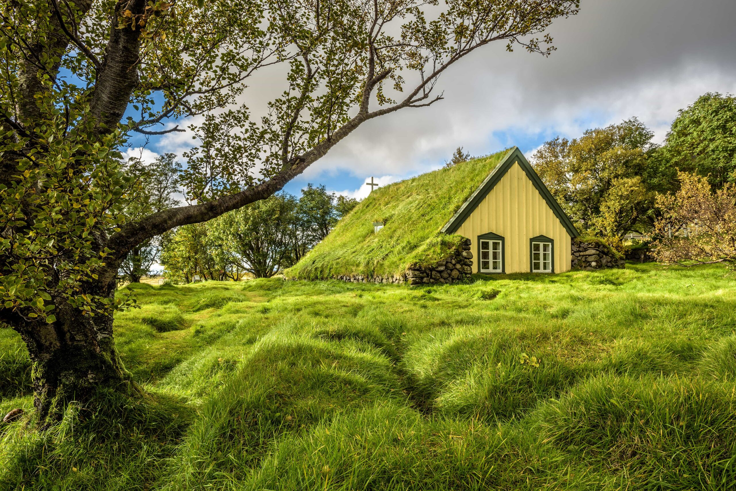 Hofskirkja turf church in south Iceland