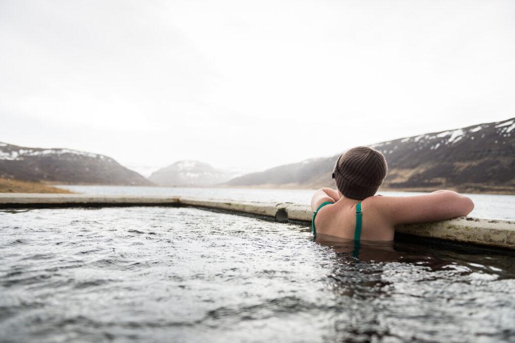 Hörgshlíðarlaug hot spring in Westfjords of Iceland